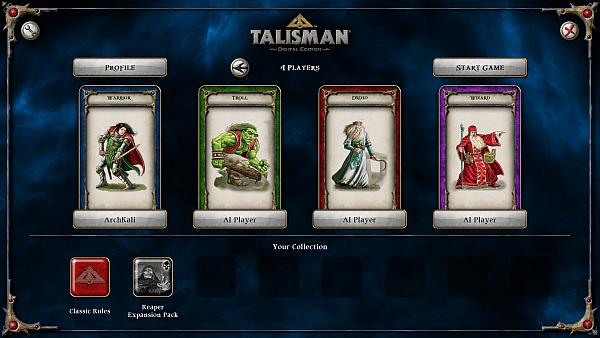 Talisman Digital Edition - character selection screen