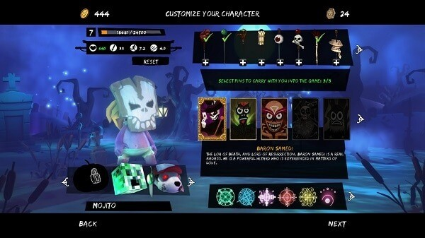Full Mojo Rampage, character customization screen
