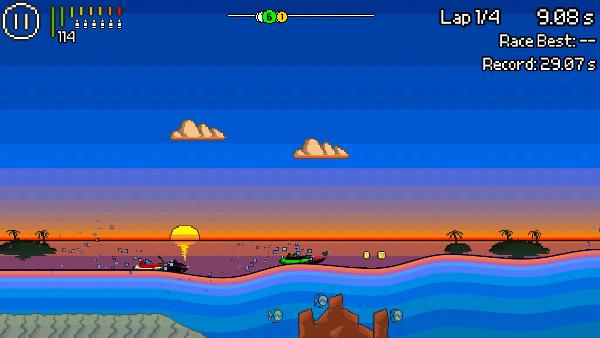 Pixel Boat Rush screenshot - blue