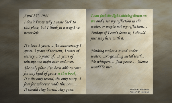 Shutter screenshot - Diary Entry