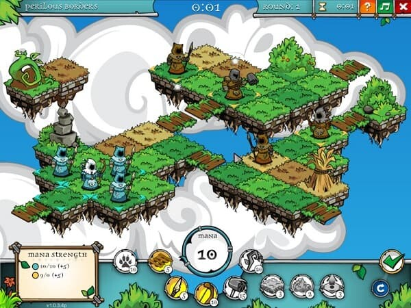A Druid's Duel, main playing screen