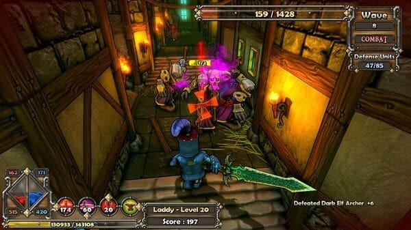 Dungeon Defenders game screenshot, hallway