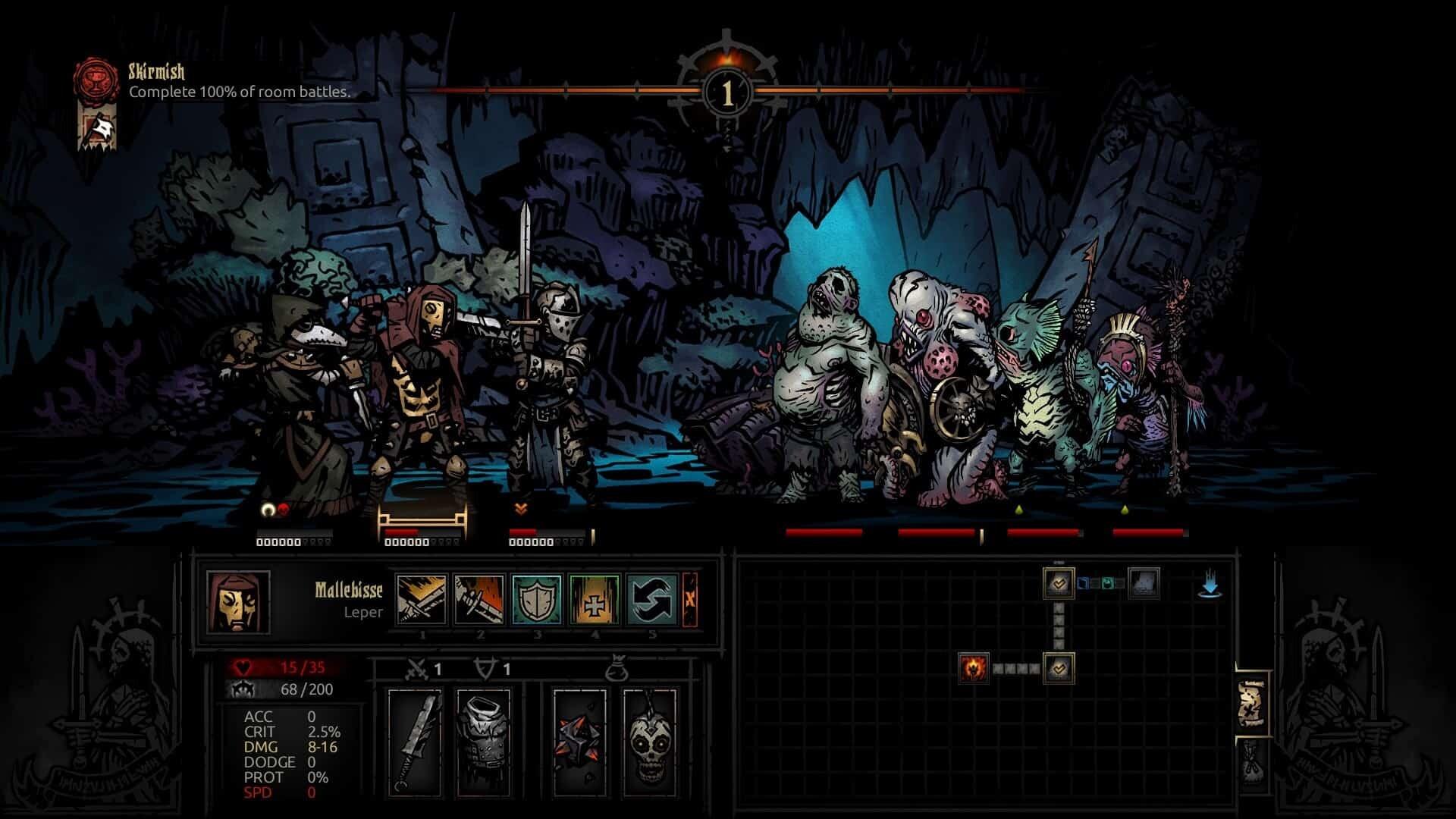 Darkest Dungeon game screenshot, cove combat