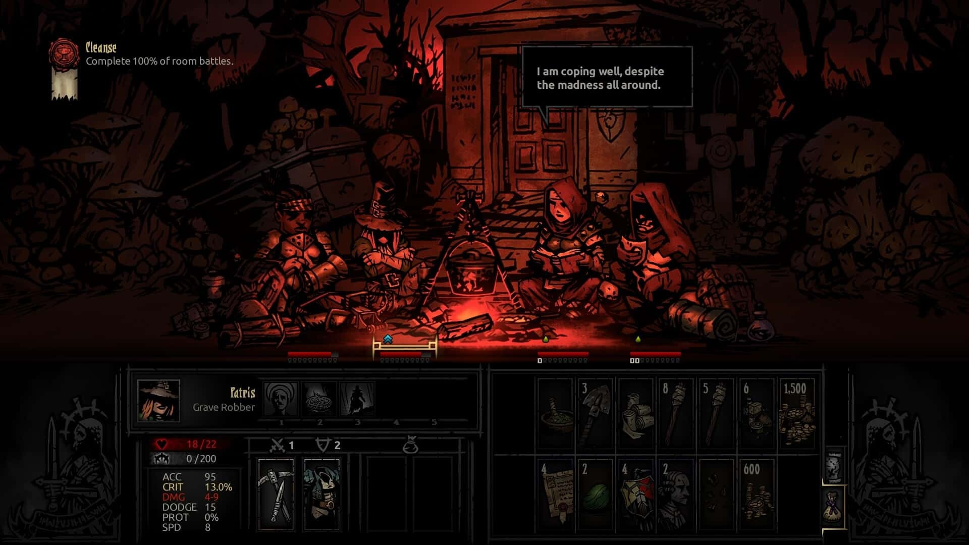 Darkest Dungeon game screenshot, camping