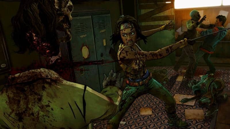 The Walking Dead: Michonne game screenshot, head chop
