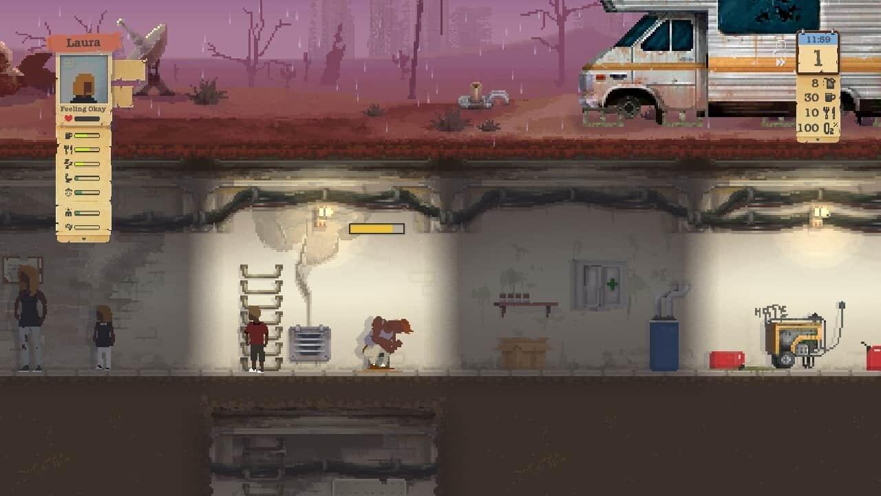 Sheltered game screenshot, bucket toilet