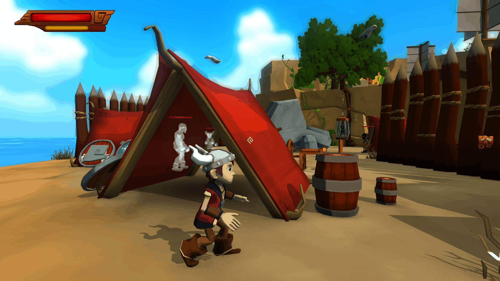 Cornerstone game screenshot, bandit camp