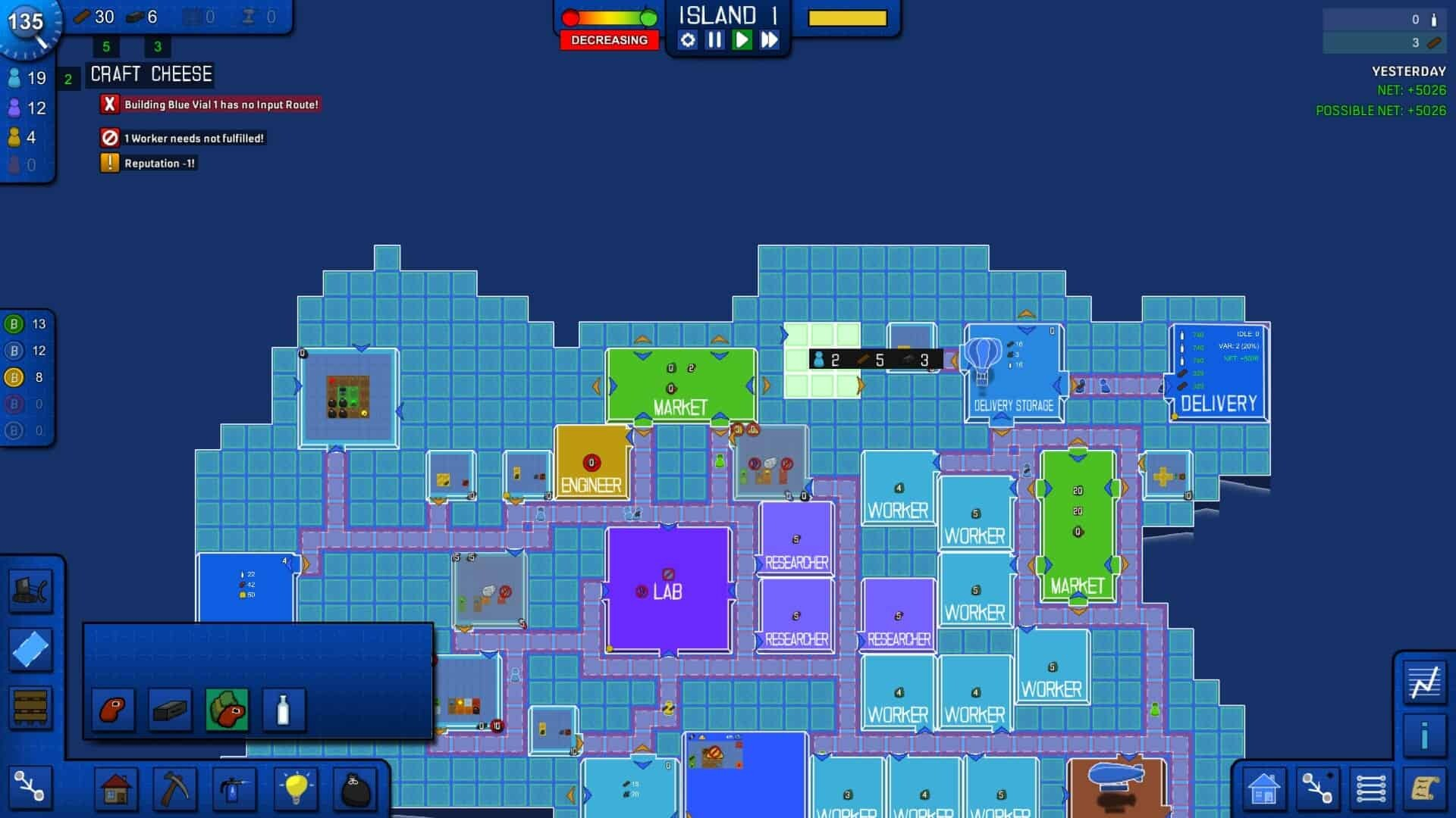 Blueprint Tycoon game screenshot, map close-up