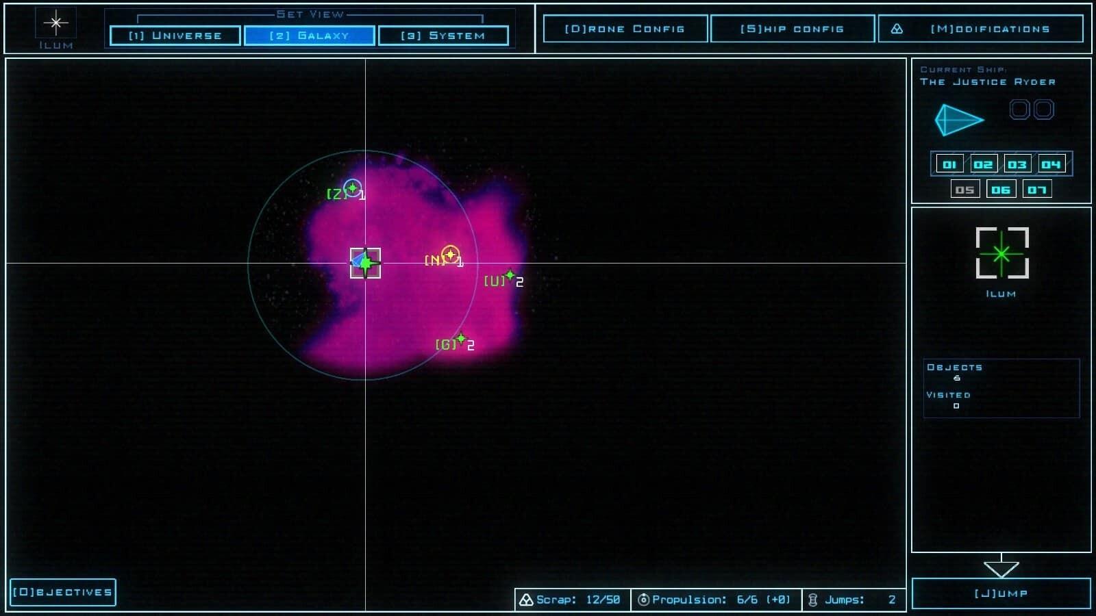 Duskers game screenshot, galaxy map