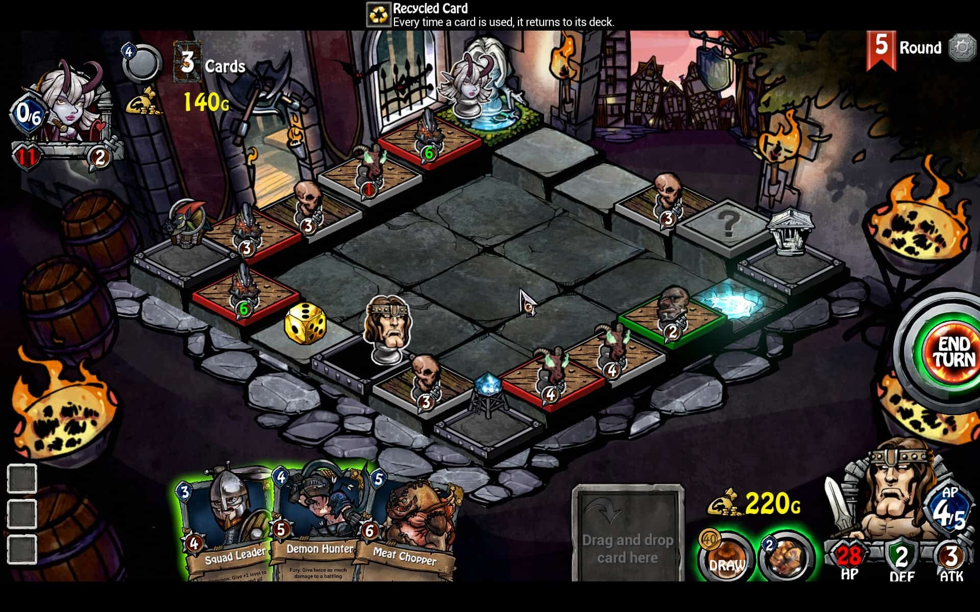 Dicetiny game screenshot, gameboard