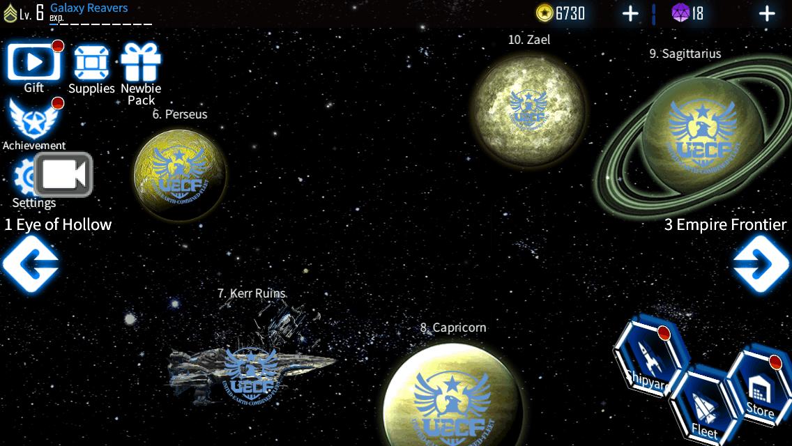 Galaxy Reavers game screenshot, mission select