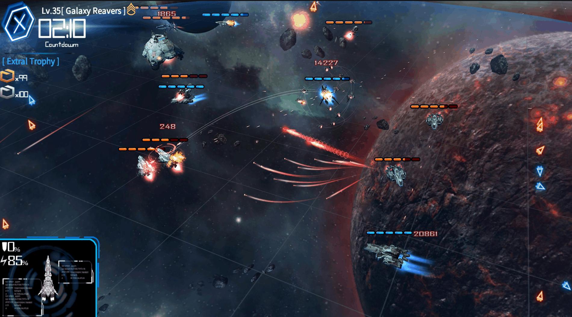 Galaxy Reavers game screenshot, battlefield