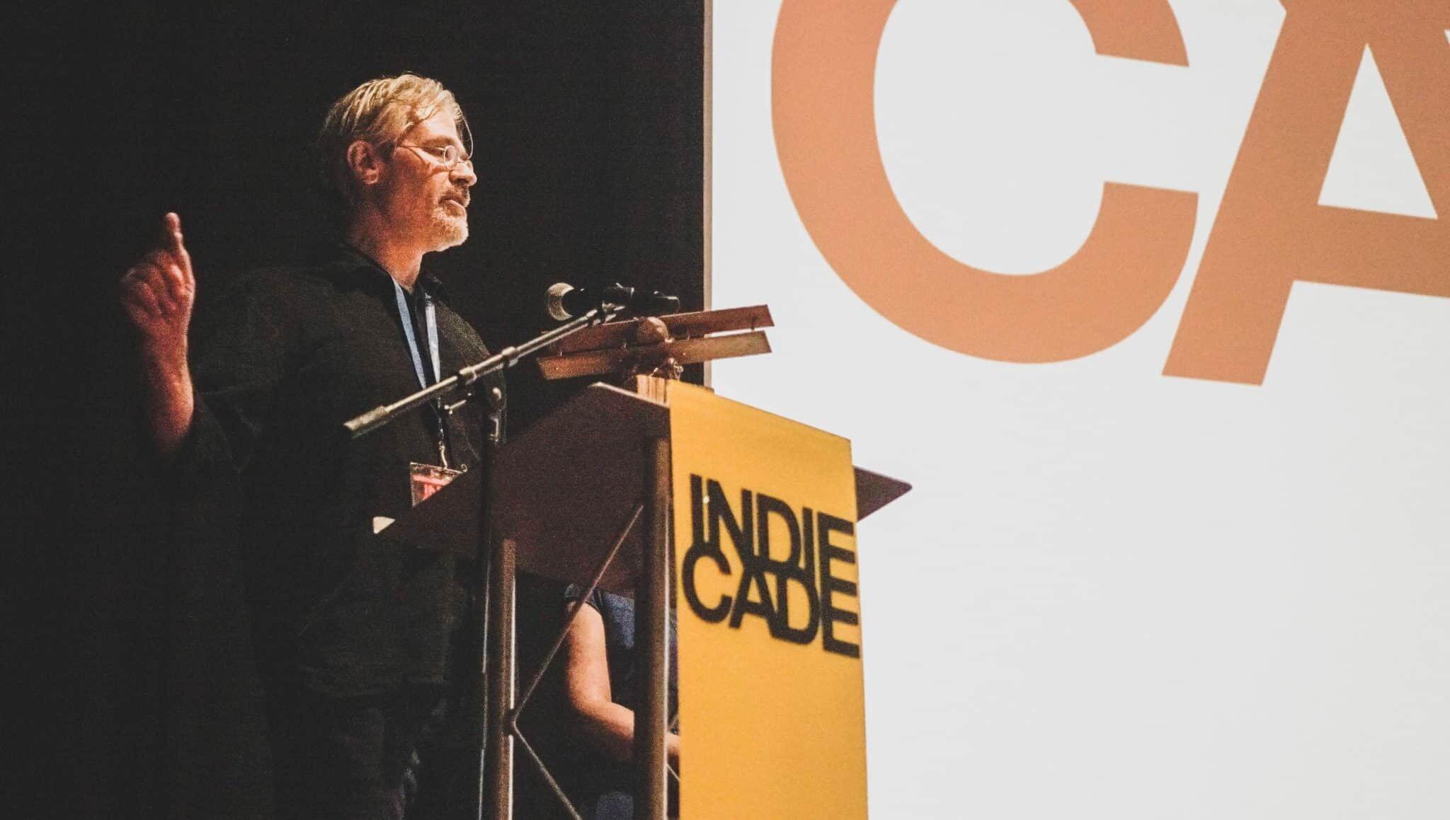 Rand Miller of Cyan Games accepts IndieCade 2016 Trailblazer Award