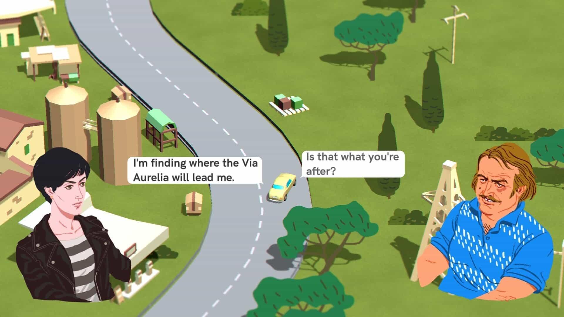 Wheels of Aurelia game screenshot, driving and talking