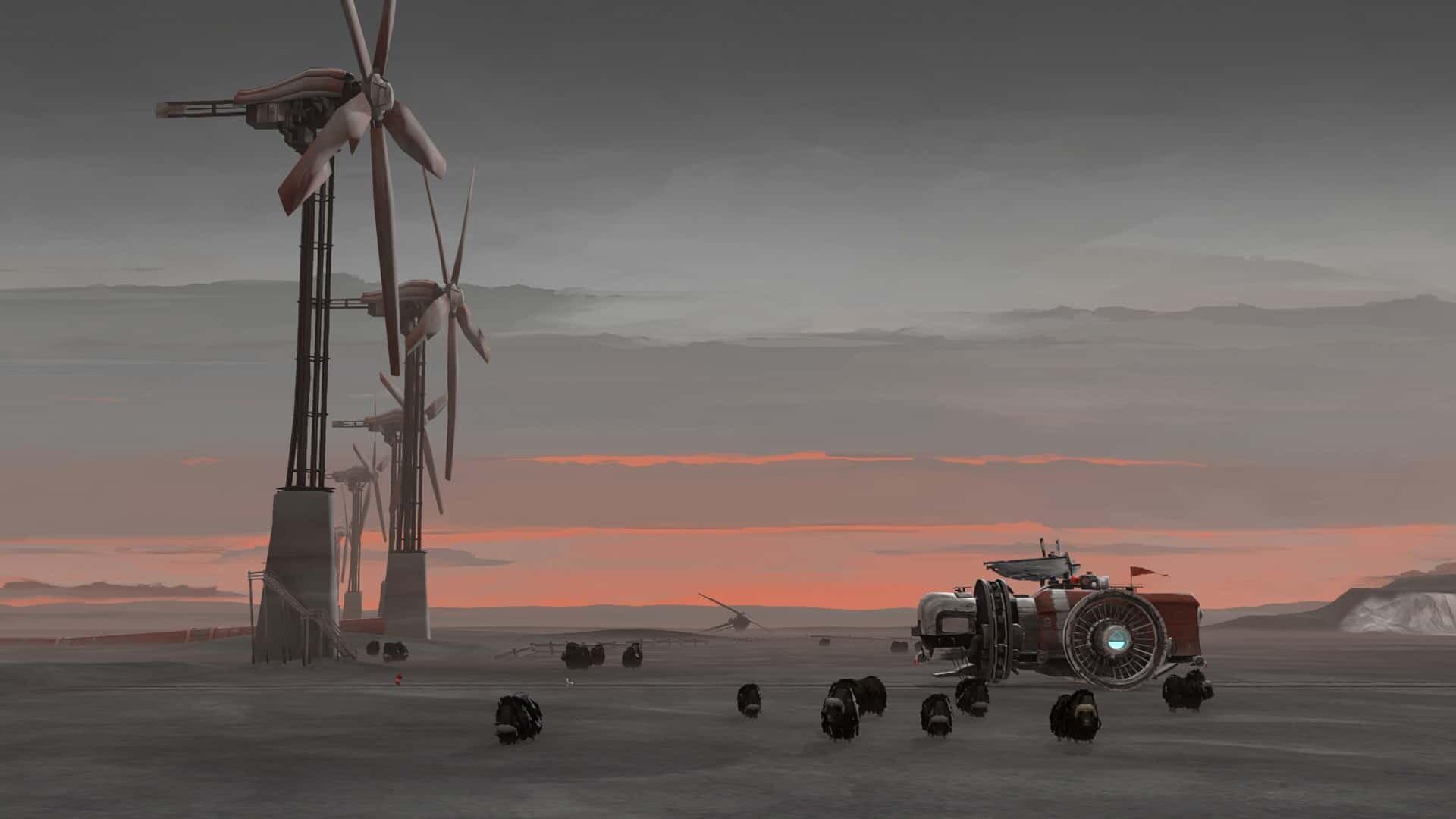 FAR: Lone Sails windmills screenshot courtesy Steam