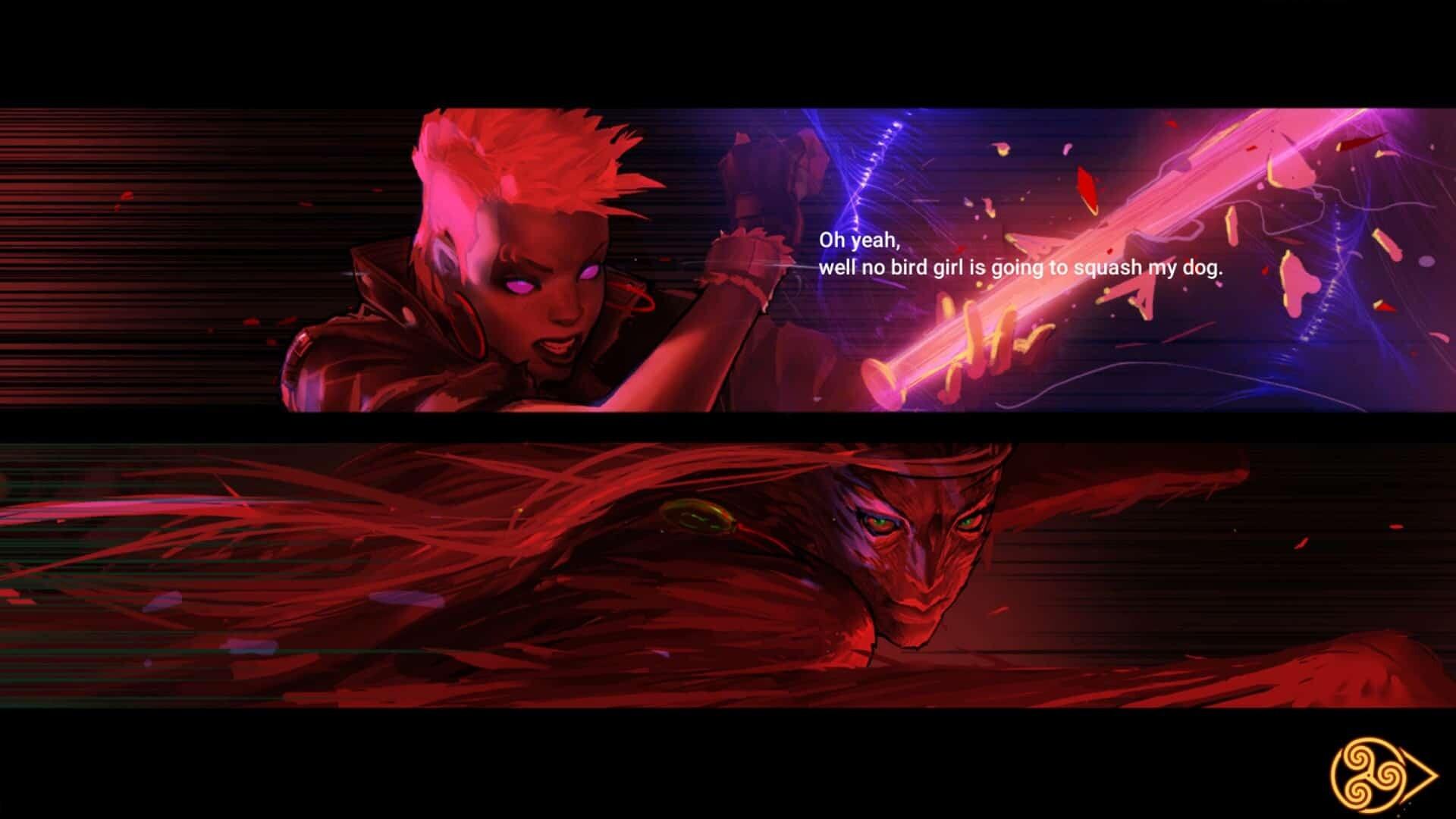 Mythgard screenshot - pink and purple women warriors in a cutscene