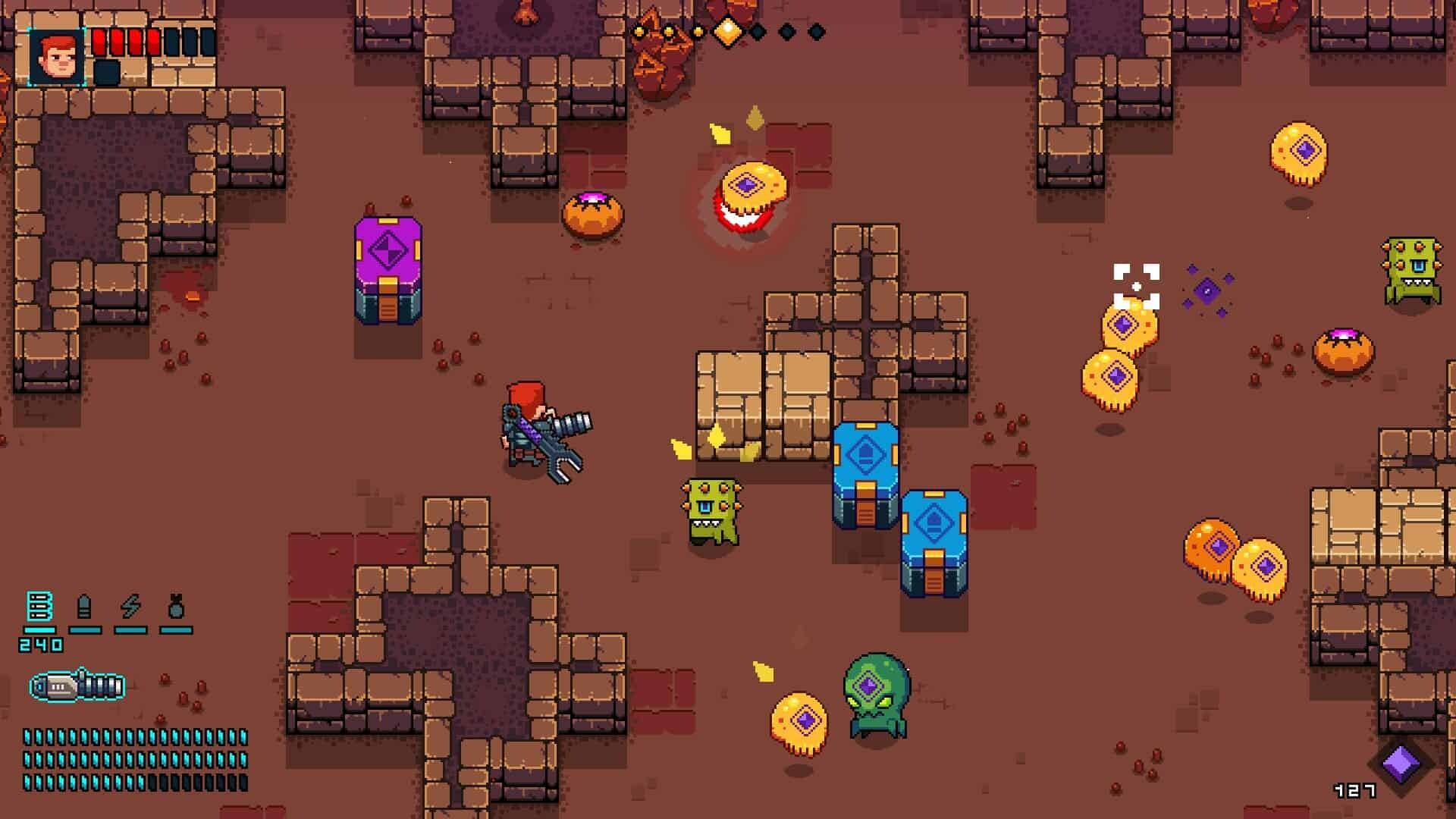 Space Robinson game screenshot, cute creatures