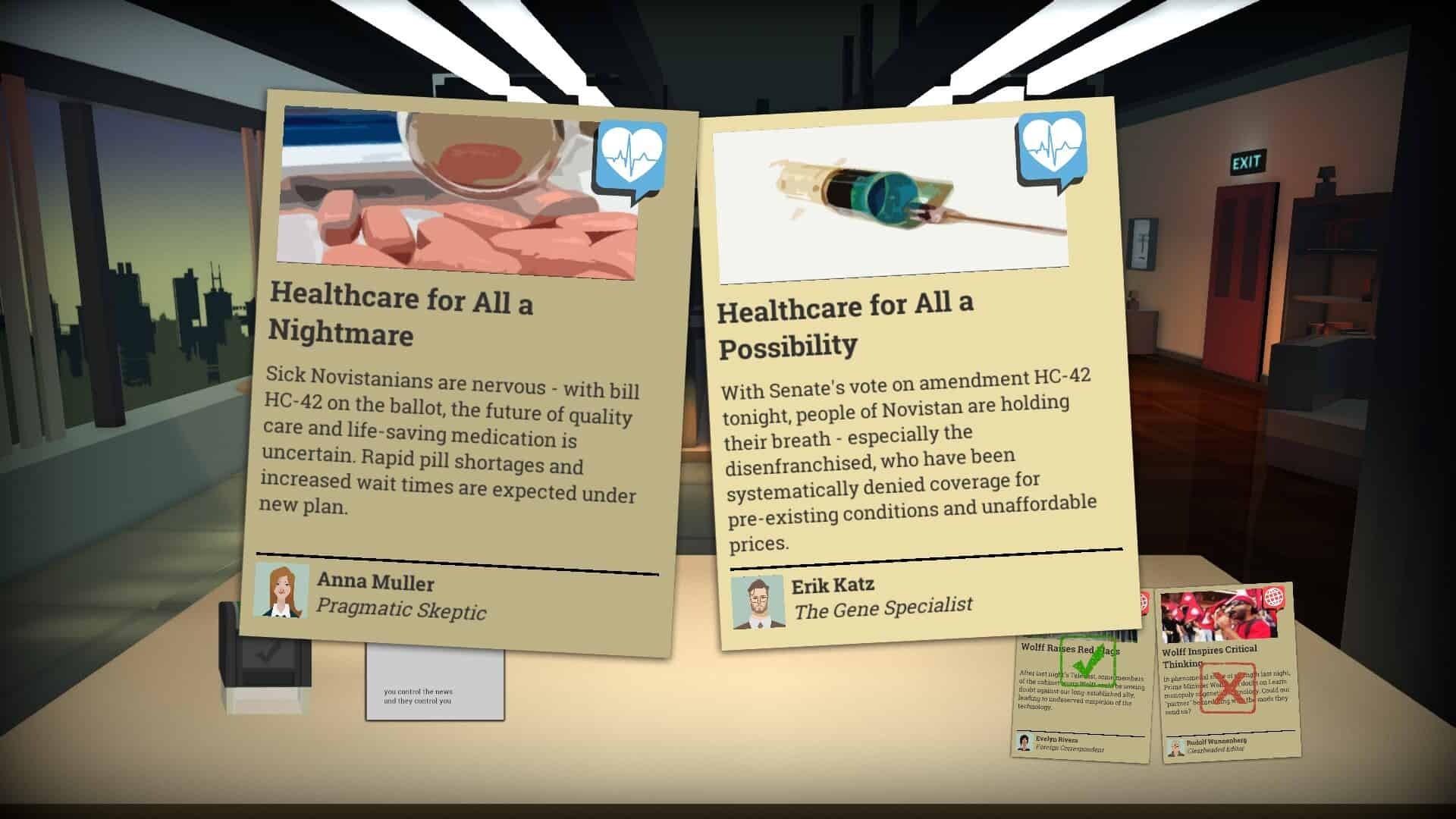 Headliner: NoviNews game screenshot, choosing news articles