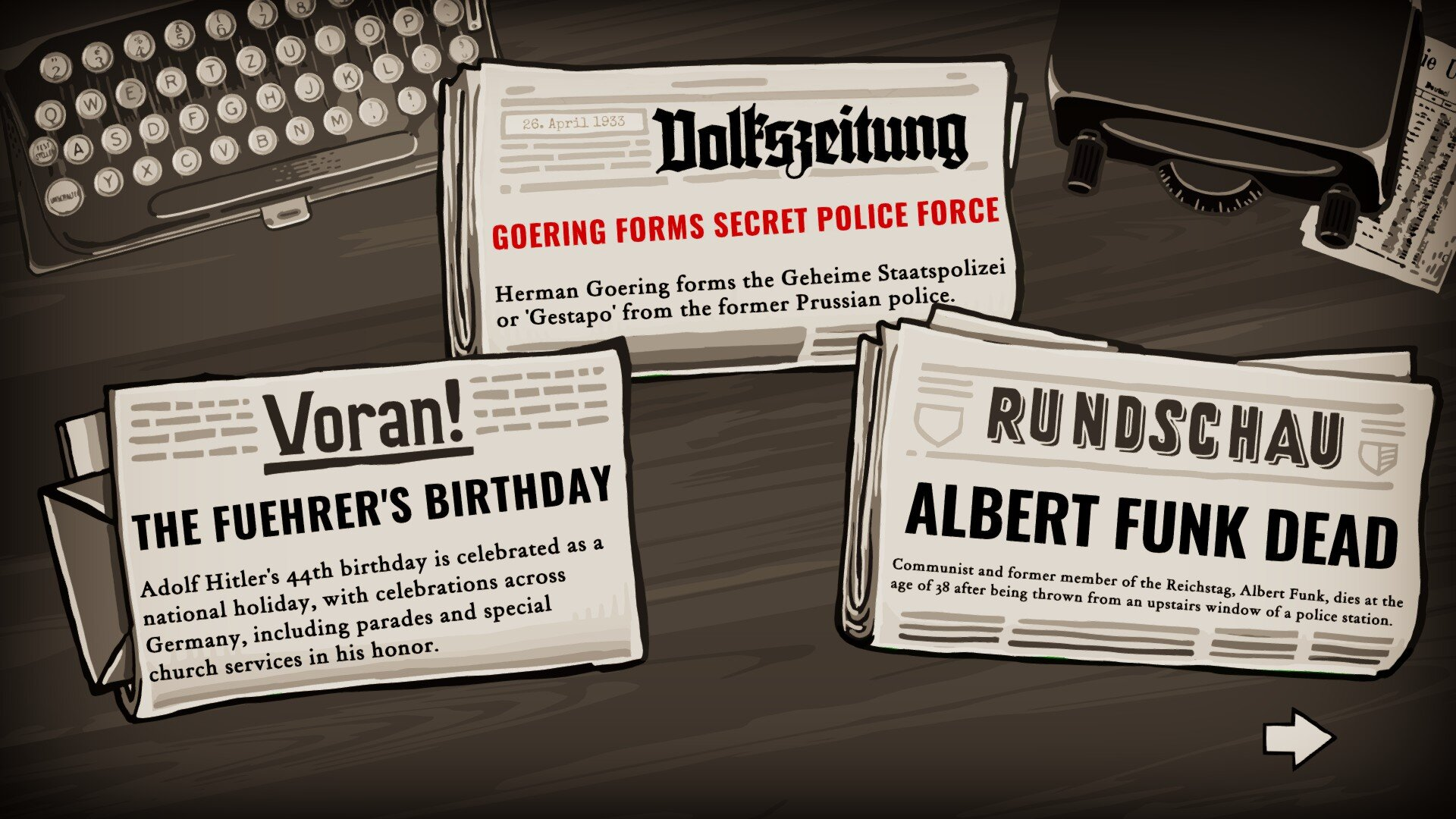 Through the Darkest of Times game screenshot, newspaper headlines