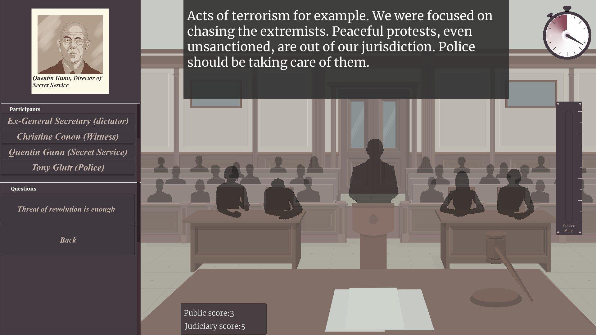 Femida game screenshot, court case
