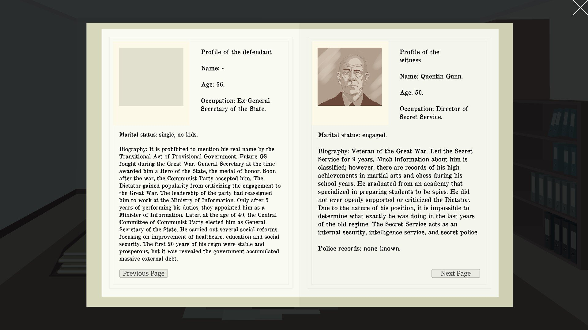 Femida game screenshot, evidence file