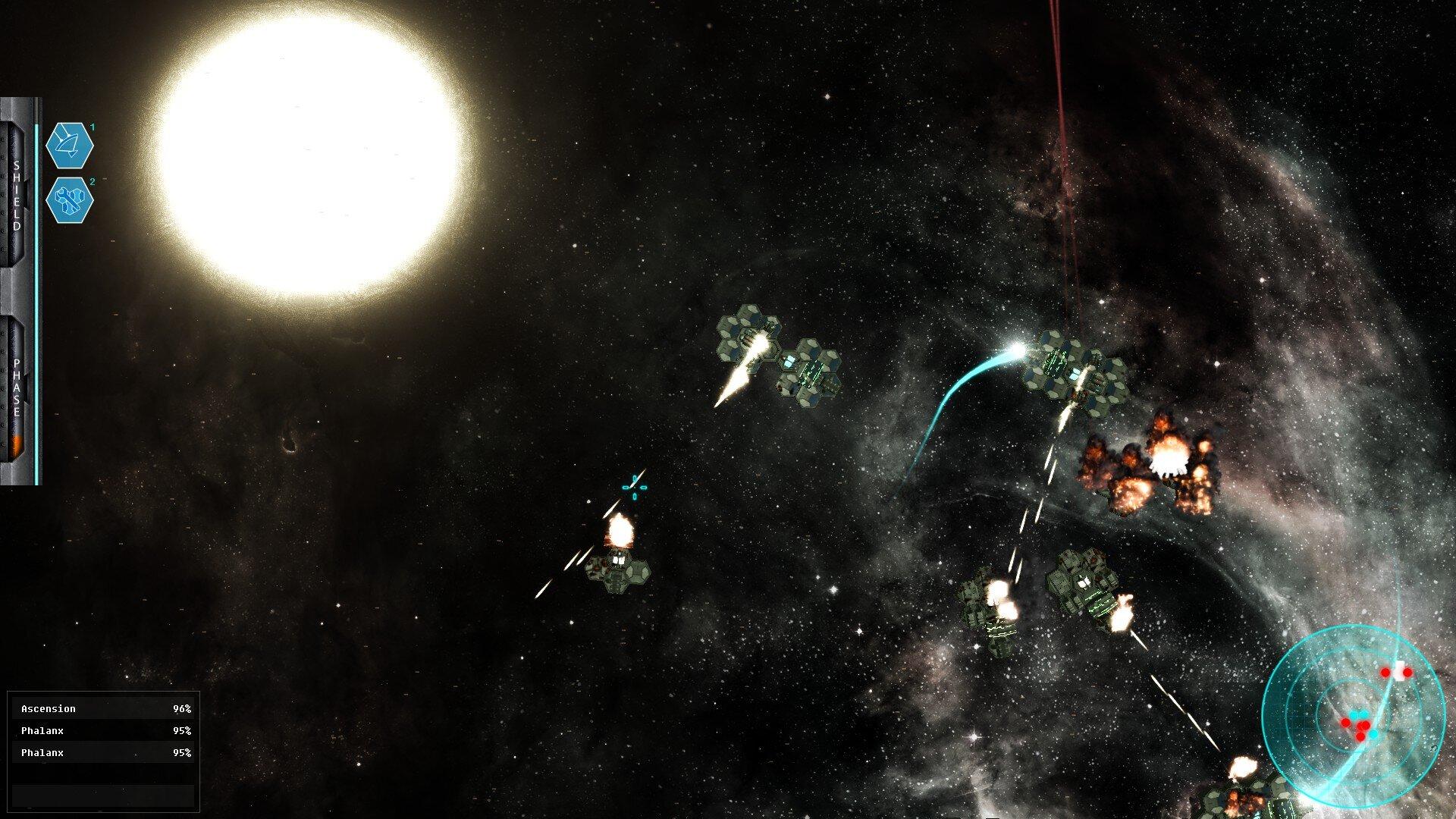Hexterminate game screenshot, space battle