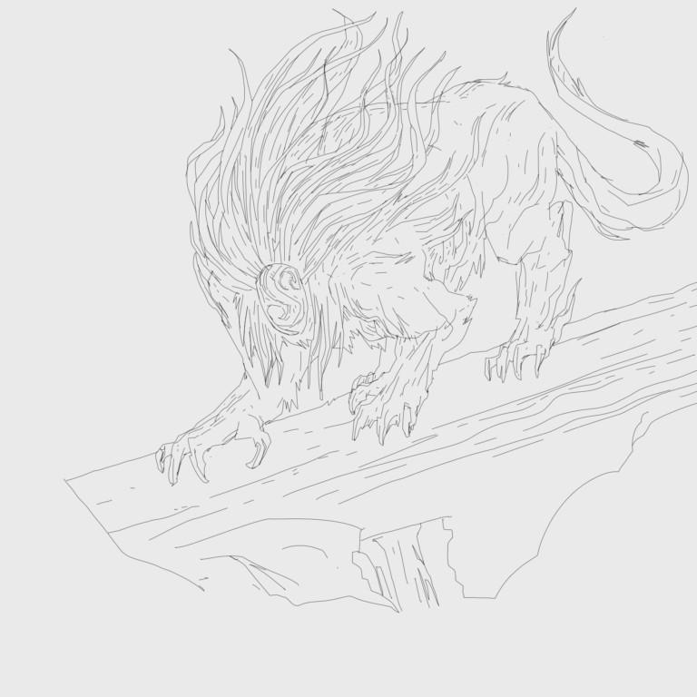Sketch art for the Apex predator card in the digital card game Faeria