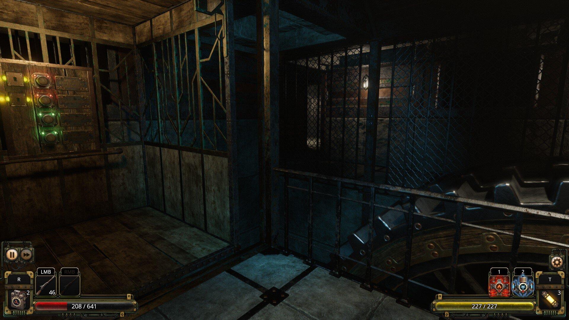 Vaporum: Lockdown game screenshot, steampunk elevator