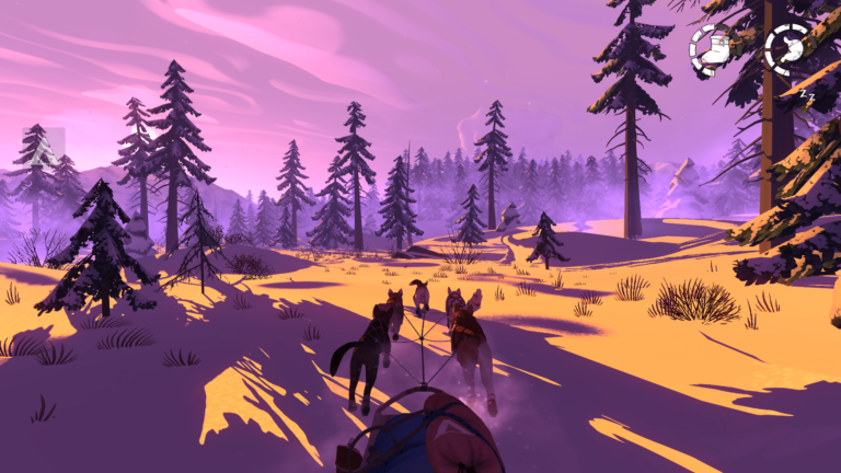 The Red Lantern videogame screenshot - orange sun breaking through the trees onto snow
