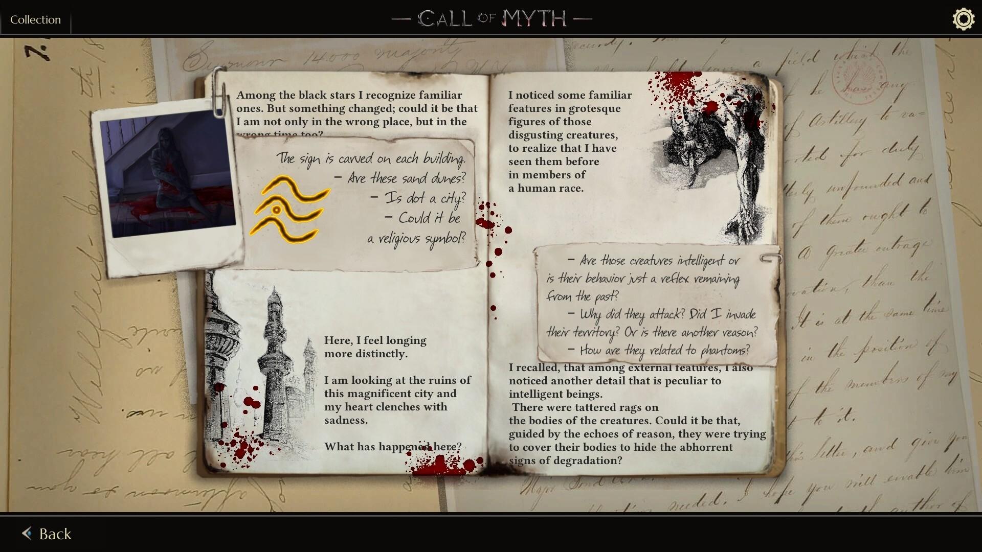 Call of Myth game screenshot, diary entry