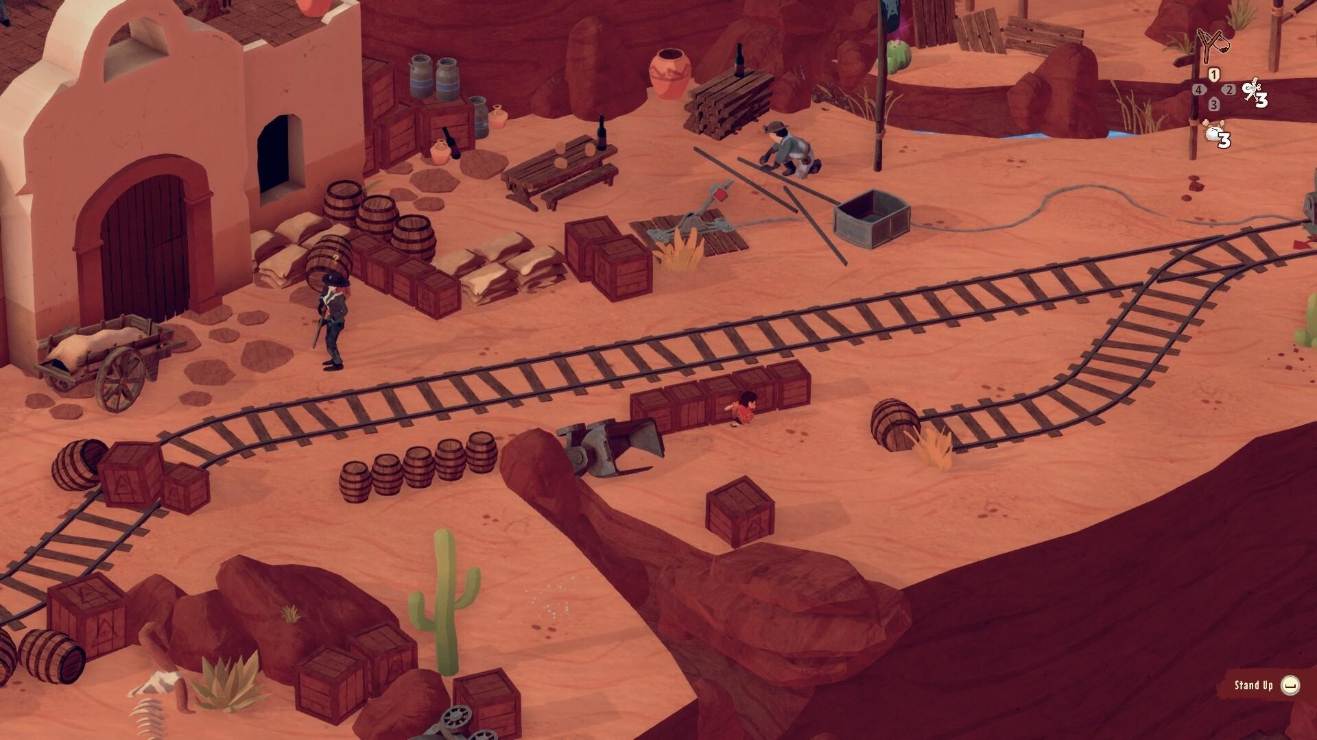 El Hijo - A Wild West Tale game screenshot, desert railroad track