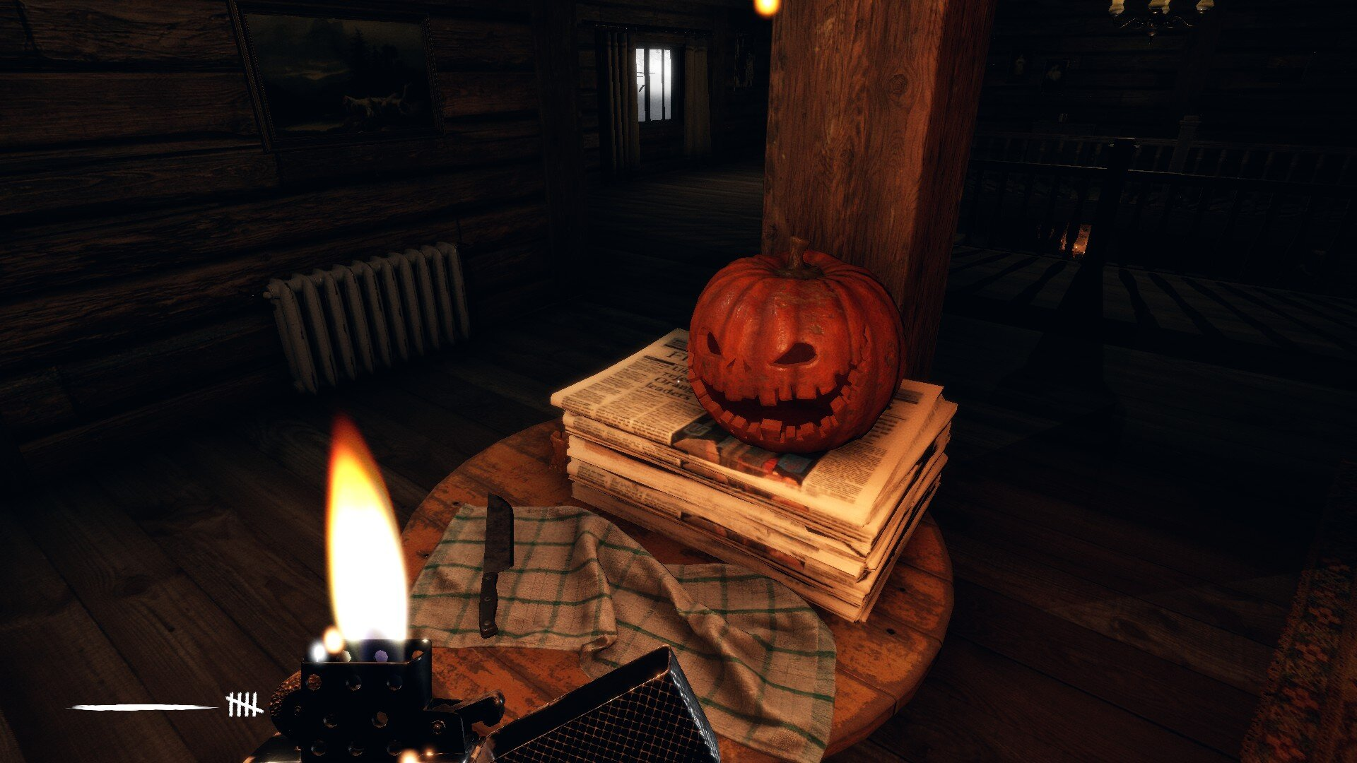 Martha game screenshot, creepy jack-o-lantern